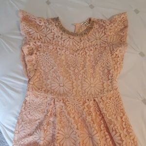 Monteau Girl gorgeous lace dress in Peach